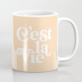C'EST LA VIE pastel peach and white Coffee Mug