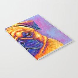Colorful Rainbow Pug Portrait Notebook