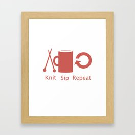 Knitting and Coffee Framed Art Print