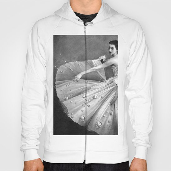 White Morning - graphite pencil drawing Hoody