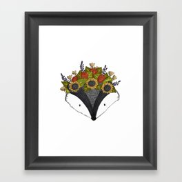 Foral Badger Framed Art Print