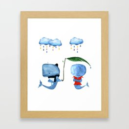 Adorable Whales - PAINTED Framed Art Print