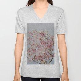 Pastel Pink Magnolias Unisex V-Neck