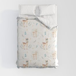 Cute Brown Deer Blue Yellow Green Christmas Holly Floral Comforters