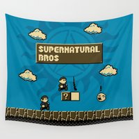 mario bros Wall Tapestries featuring Supernatural Bros. by Byway