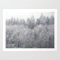 Snowing Trees Art Print