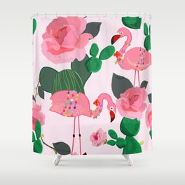 Flamingos. Exotic Birds with cactus and roses artistic design pattern Shower Curtain