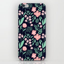 Dark Floral in Navy, Blush and Mint iPhone Skin