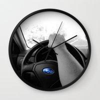 subaru Wall Clocks featuring Subaru by Maggie Wheeler
