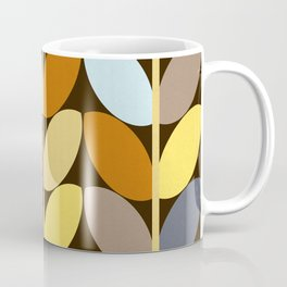 Retro 70s Color Palette Leaf Pattern Coffee Mug
