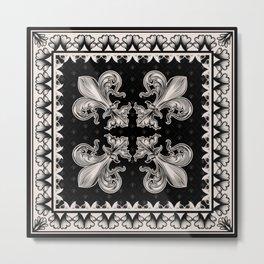 Fleur-de-lis - Black and Cream #2 Metal Print