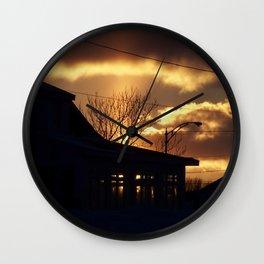 Winter Sunset Silhouette Wall Clock