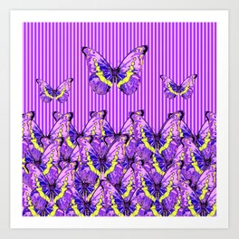 CONTEMPORARY  PURPLE BUTTERFLIES  & STRIPES Art Print