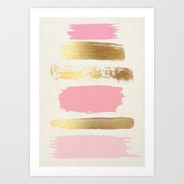 Brush Strokes (Rose/Gold) Art Print
