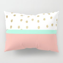 Coral teal color block faux gold foil polka dots pattern Pillow Sham