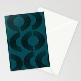 Blue modern mid century lines Stationery Cards