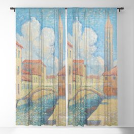"Henri-Edmond Cross ""Venise (Campo San Barnaba)"" Sheer Curtain"
