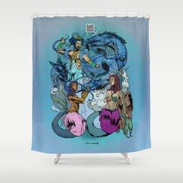 Neptunian Prince Kami no Ōwatatsumi Ryujin and His Maidens Shower Curtain