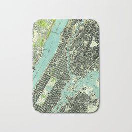 Vintage Central Park & Bronx NY Map (1947) Bath Mat