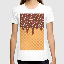 waffles with flowing chocolate sauce and sprinkles T-shirt