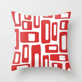 Retro Mid Century Modern Abstract Pattern 336 Red Throw Pillow