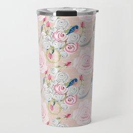 Watercolor Roses and Blush French Script Travel Mug