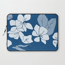 Stonecrop Garden Floral, Drawing in Classic Blue Laptop Sleeve