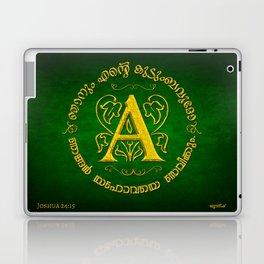 Joshua 24:15 - (Gold on Green) Monogram A Laptop & iPad Skin