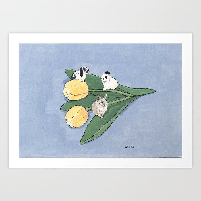 Tulip and bunnies Art Print
