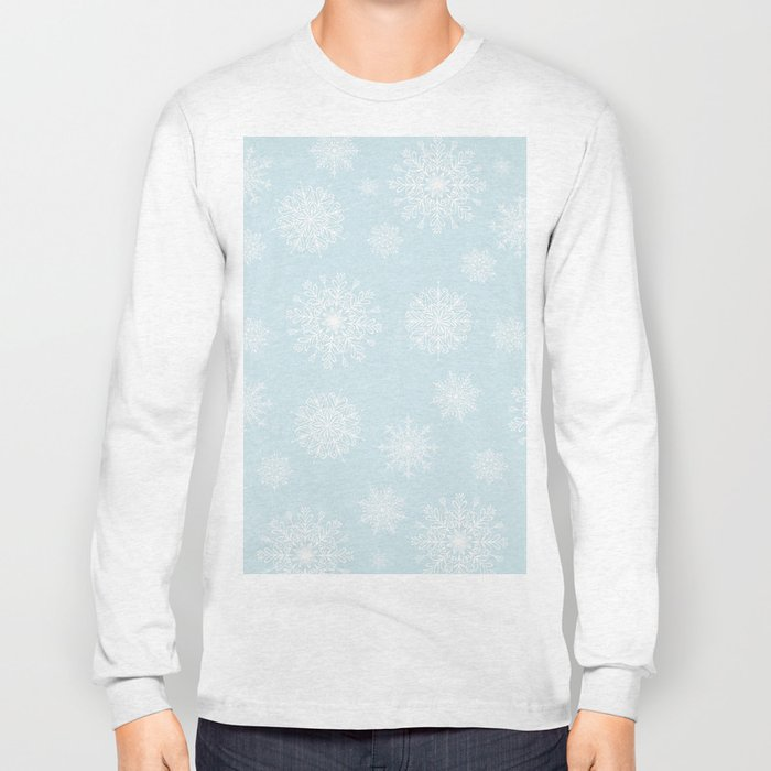 Assorted White Snowflakes On Light Blue Background Long Sleeve T-shirt