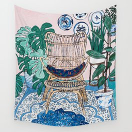 Wicker Chair and Delft Plates in Jungle Room Wall Tapestry