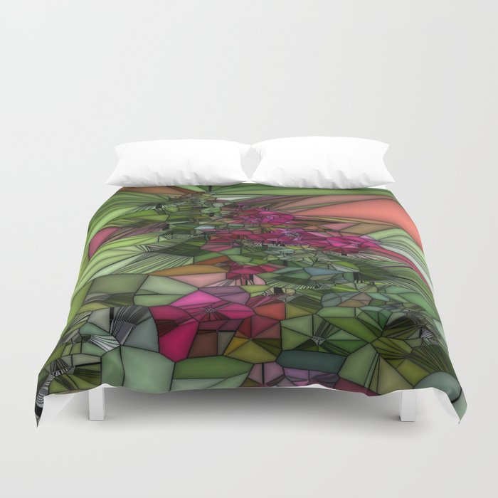 Pink and Green Glass Duvet Cover