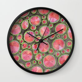 Big Red Circles Pattern Wall Clock