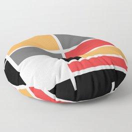 Mondrianista orange red black and gray Floor Pillow