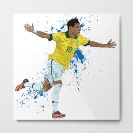 Neymar - Brazilian Footballer Metal Print