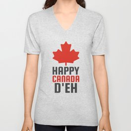 HAPPY CANADA D'EH Unisex V-Neck