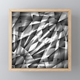 Exclusive mosaic pattern of chaotic black and white fragments of glass, metal, glare and ice floes. Framed Mini Art Print