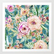 Teal MAUI MINDSET Colorful Tropical Floral Art Print