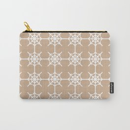 Radial Arrows Clover Pattern - White and Hazelnut Carry-All Pouch