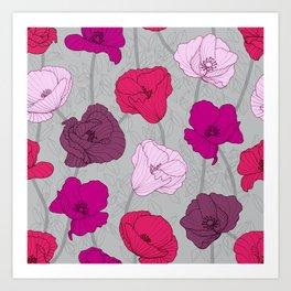 Purple Jewel Tone Hand Drawn Poppies Art Print