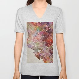 Oakland map Unisex V-Neck