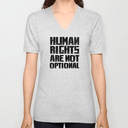 Human rights are not optional - Black Unisex V-Neck