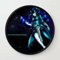 berserk Wall Clocks featuring Berserk Cyborg Panda by Berserk Cyborg Panda