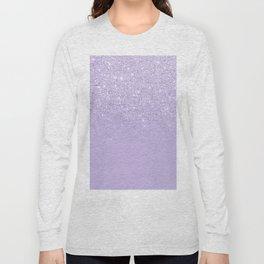 Stylish purple lavender glitter ombre color block Long Sleeve T-shirt