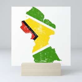 Distressed Guyana Map Mini Art Print