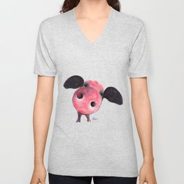 Nosey Pig ' CLARENCE ' by Shirley MacArthur Unisex V-Neck