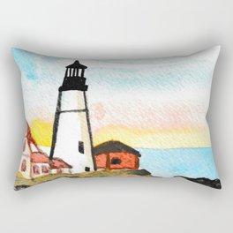 Watercolor Lighthouse Painting Rectangular Pillow