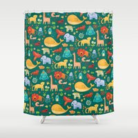 animals Shower Curtains featuring Animals by Emma Randall