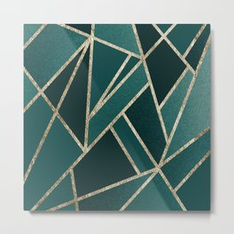 Classic Teal Champagne Gold Geo #1 #geometric #decor #art #society6 Metal Print