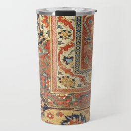 Indian Trellis II // 17th Century Ornate Medallion Red Blue Green Flowers Leaf Colorful Rug Pattern Travel Mug